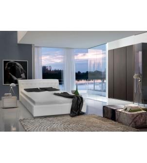 Białe łóżko tapicerowane z...